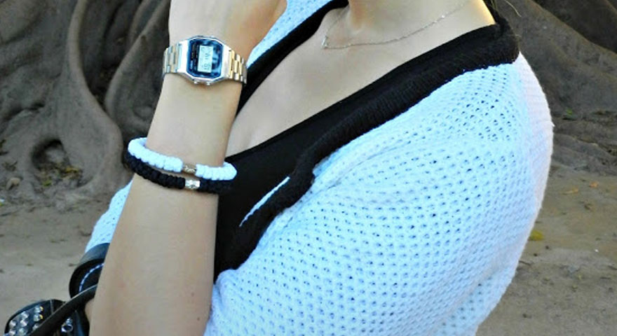 Casual Style With White and Black Prayer Rope Bracelet