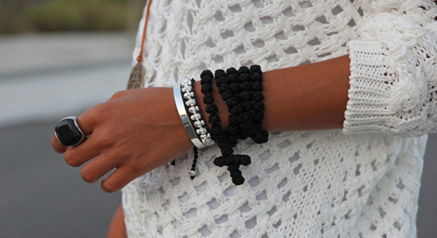 Knits And Knots |The 100 Knot Black Prayer Rope Necklace