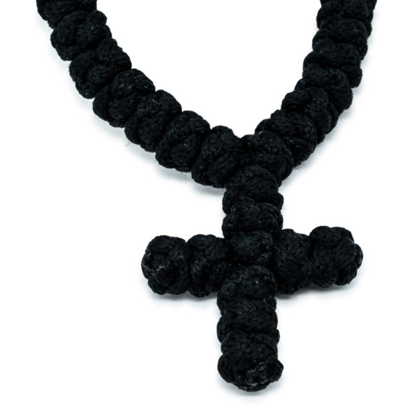 Beautiful 100 Knot Black Prayer Necklace With Orange Beads
