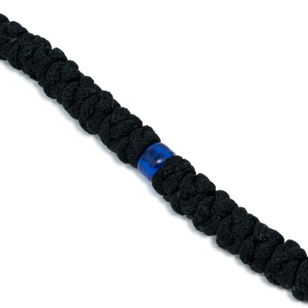 Wondrous 100 Knot Black Prayer Necklace With Blue Beads