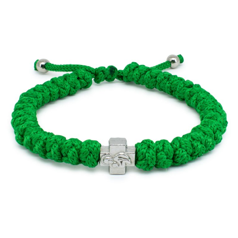 Adjustable Green Prayer Rope Bracelet-0