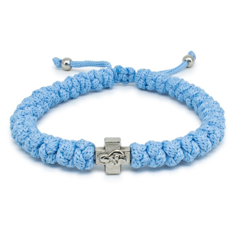 Adjustable Light Blue Prayer Rope Bracelet-0