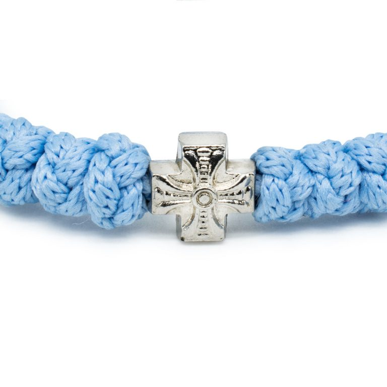 Adjustable light blue prayer bracelet