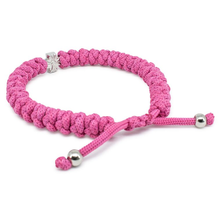 Adjustable pink prayer bracelet