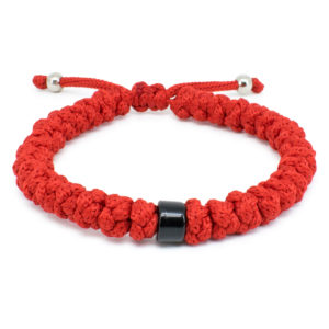 Black Beaded Adjustable Red Prayer Rope Bracelet-0