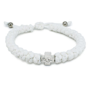 Adjustable White Prayer Rope Bracelet-0
