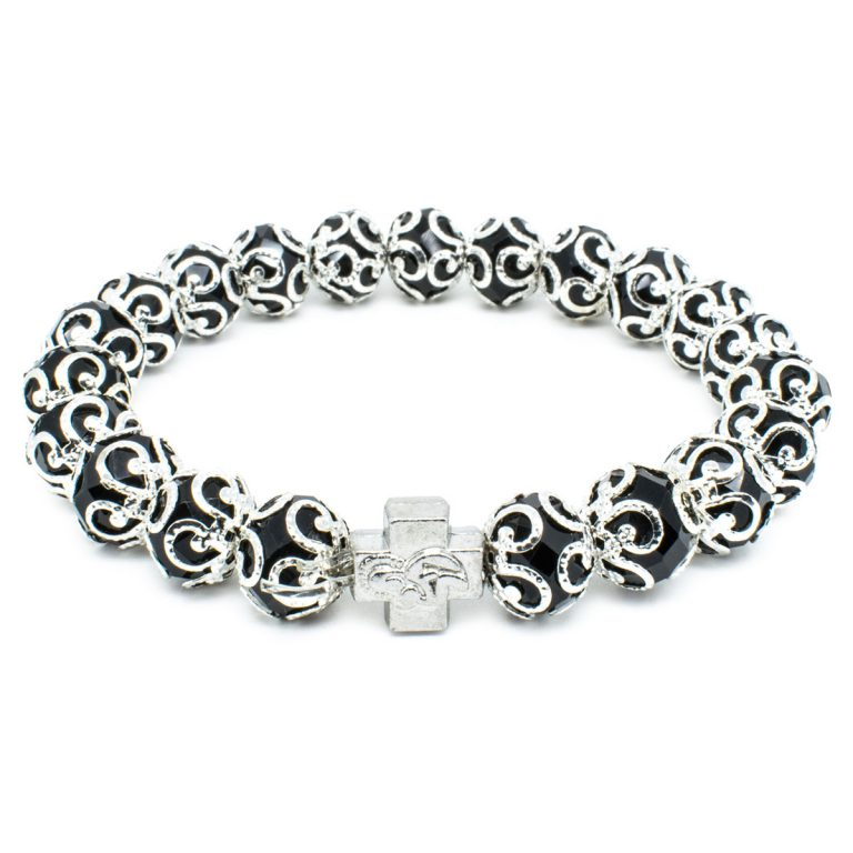 "Black Glass Orthodox Bracelet ""Aurora""-0"
