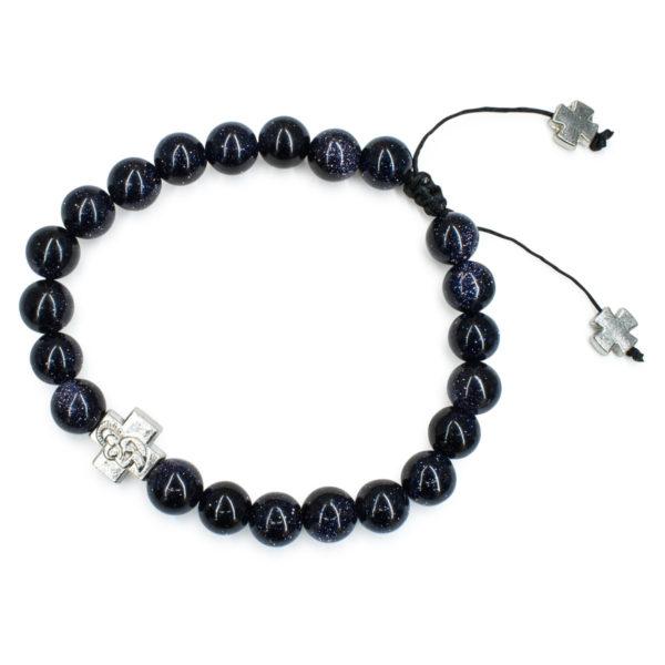 Elegant Sparkling Black GoldStone Prayer Bracelet
