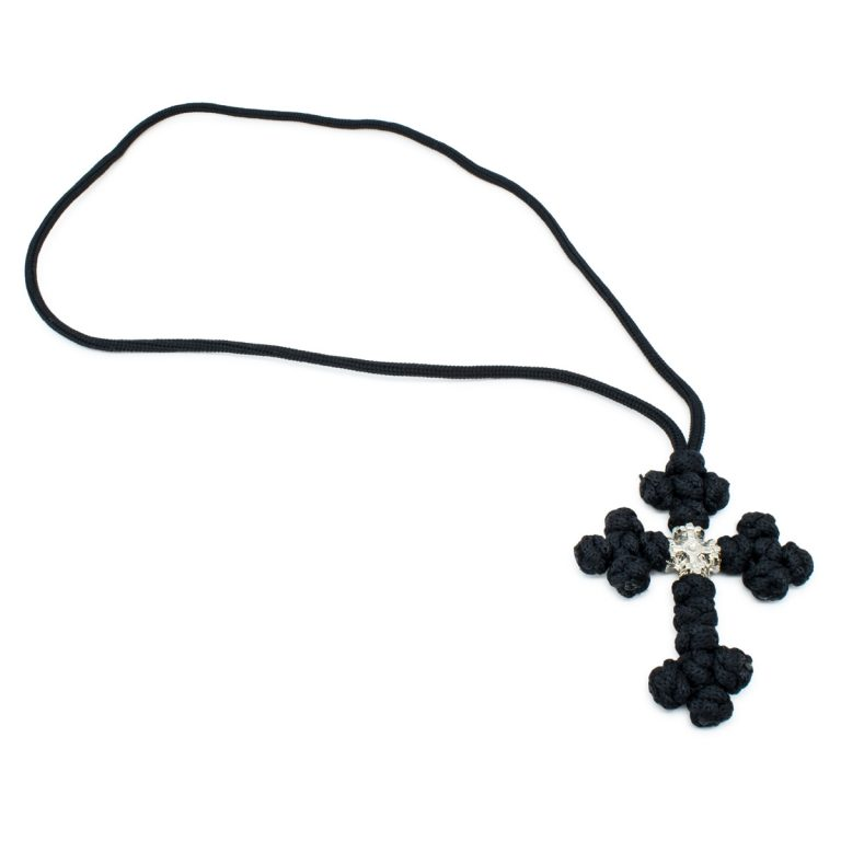 Delicate Black Orthodox Saint Sava Cross Necklace
