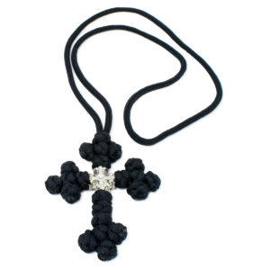 Black Saint Sava Woven Cross Necklace-0