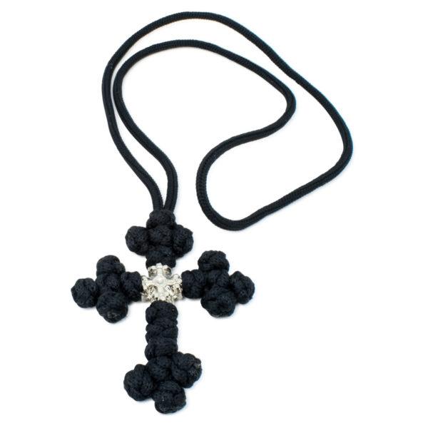 Black Saint Sava Woven Cross Necklace-0