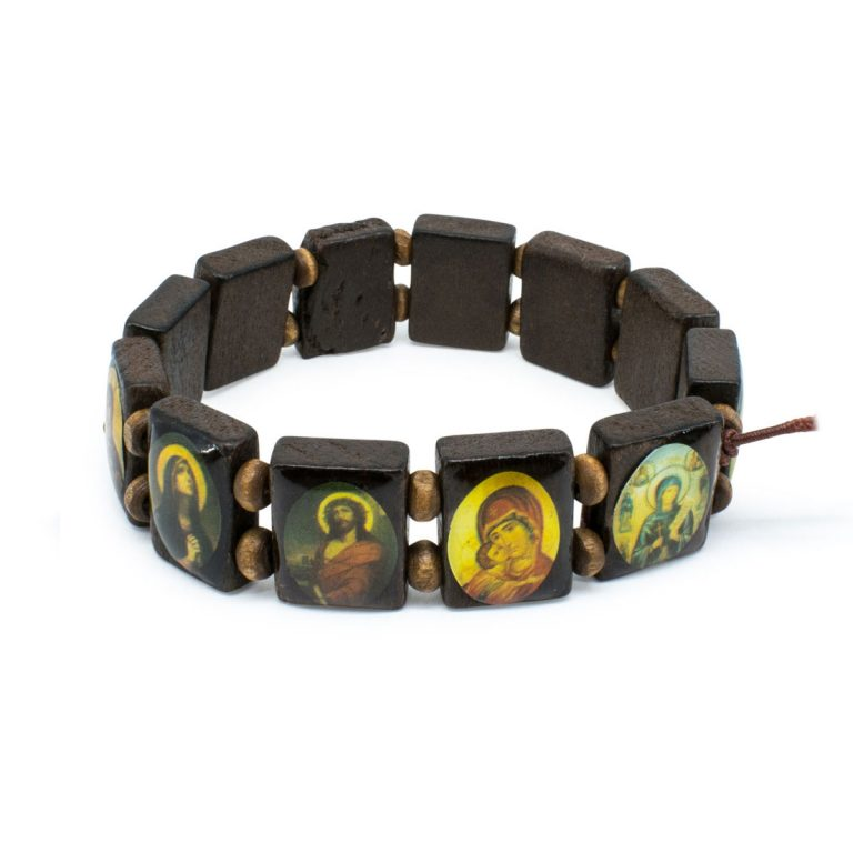 Amazing Black Orthodox Wooden Saints Bracelet