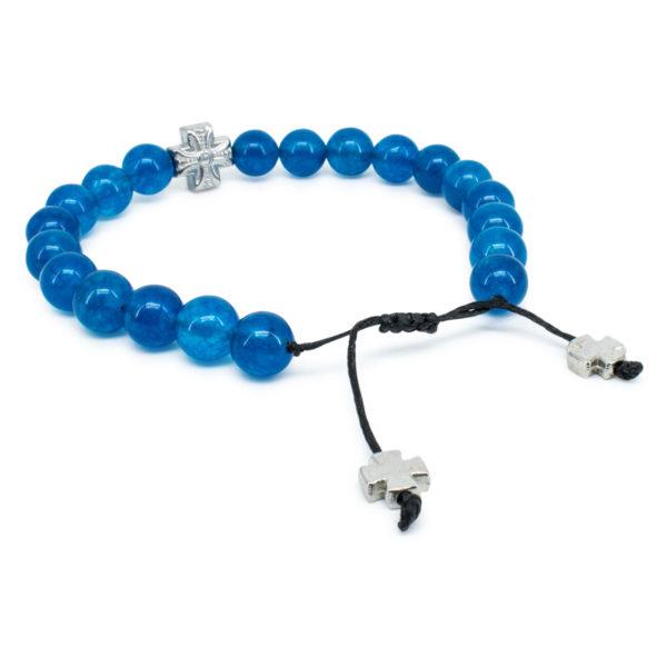 Blue Jade Stone Orthodox Bracelet   33Knots Online Store