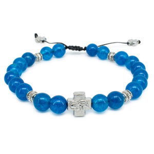 "Blue Jade Stone Orthodox Bracelet ""Bluemoon""-0"
