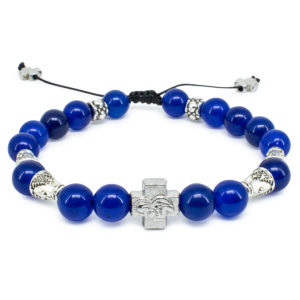 "Dark Blue Jade Stone Orthodox Bracelet ""Darkmoon""-0"