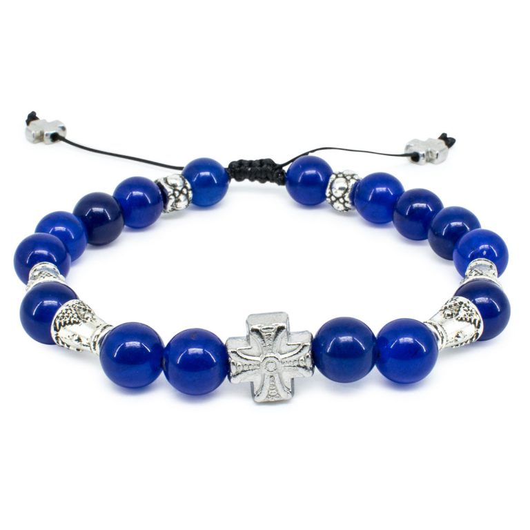 Dark Blue Jade Stone Prayer Bracelet
