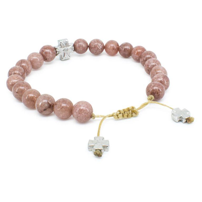 Fantastic Brown Candy Jade Stone Prayer Bracelet