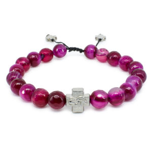 Facetted Cherry Agate Stone Orthodox Bracelet-0