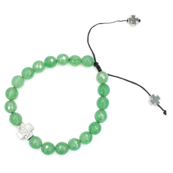 Amazing Facetted Green Jadeite Stone Prayer Bracelet