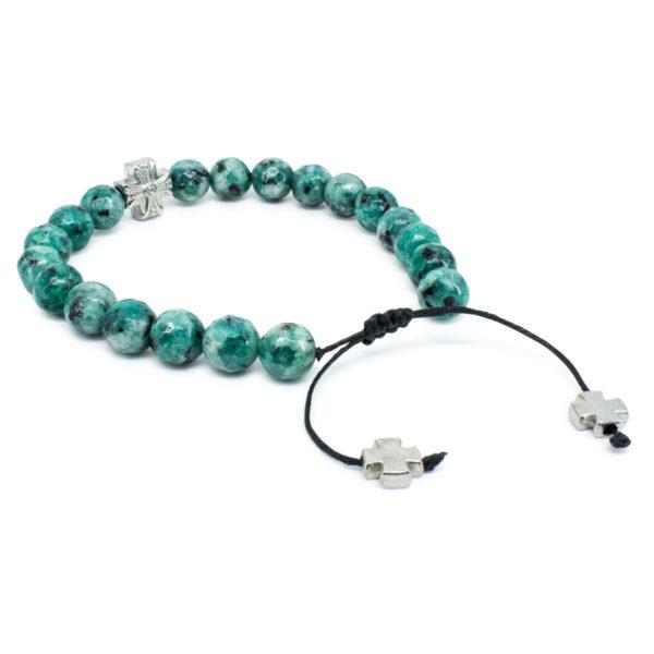 Brilliant Facetted Ruby Zoist Stone Prayer Bracelet