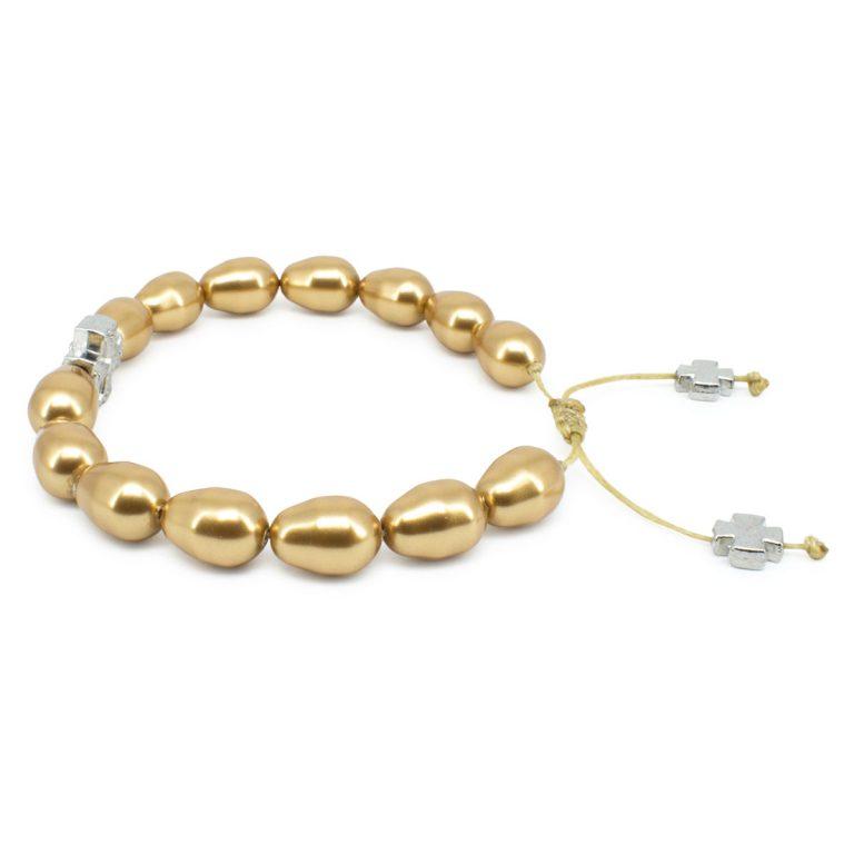 Gold Swarovski Teardrop Pearl Orthodox Bracelet-503