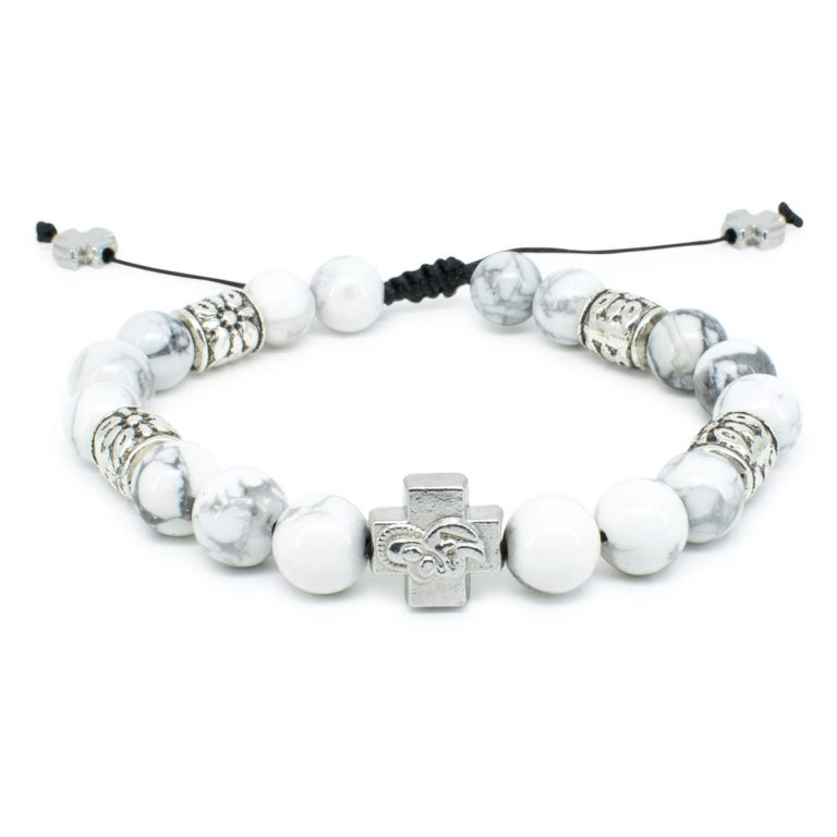 "Howlite Stone Orthodox Bracelet ""Twilight""-0"