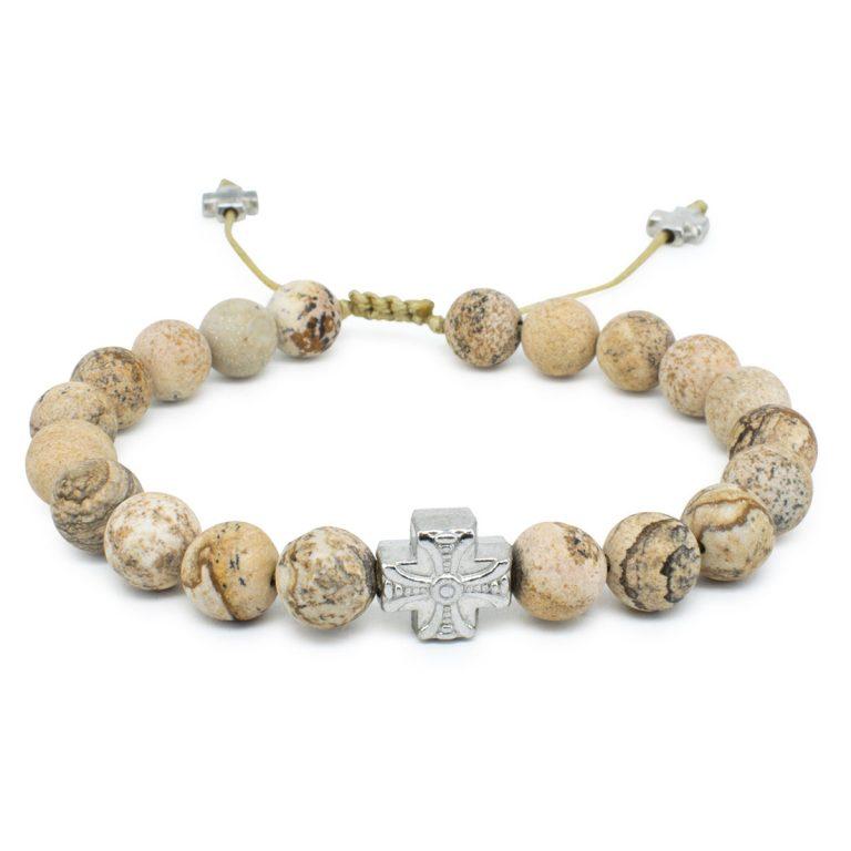 Extraordinary Matte Calcite Stone Prayer Bracelet