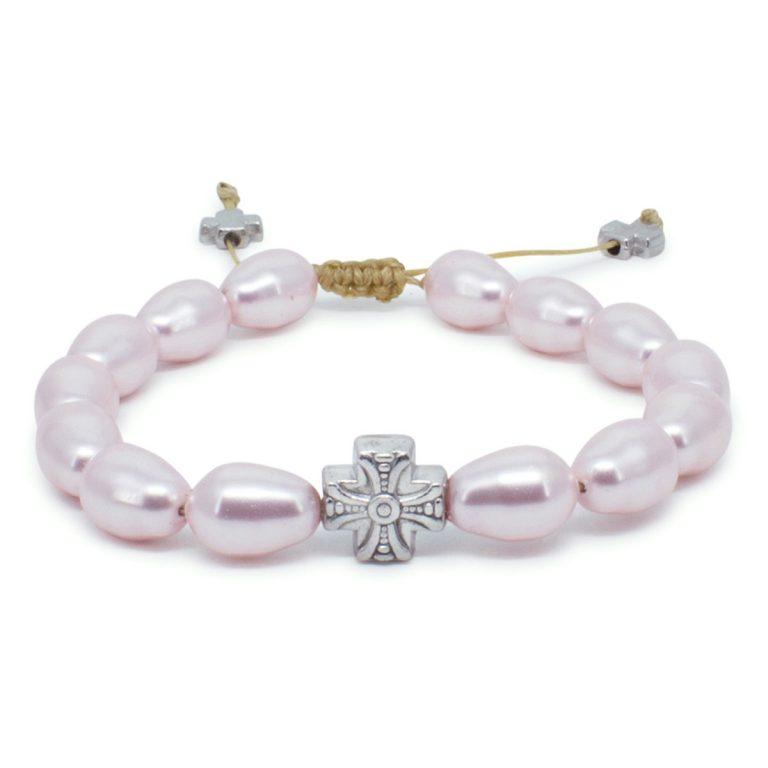 Attractive Pink Swarovski Teardrop Pearl Prayer Bracelet