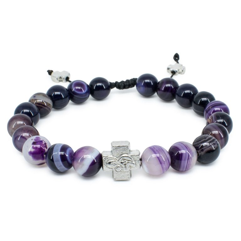 Purple Agate Stone Orthodox Bracelet-0