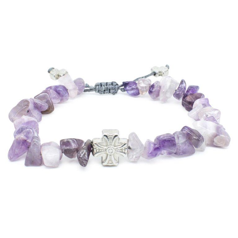 Eye-catching Purple Amethyst Stone Chips Prayer Bracelet