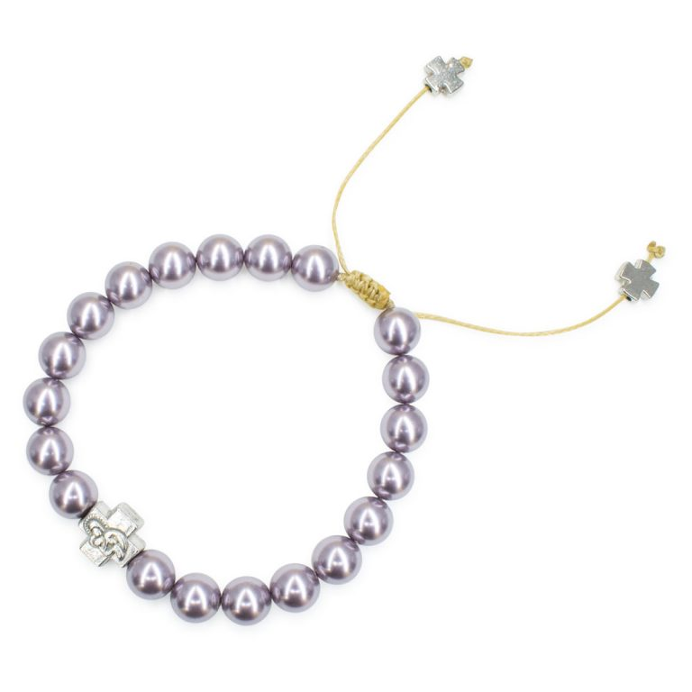 Blissful Purple Swarovski Pearl Prayer Bracelet