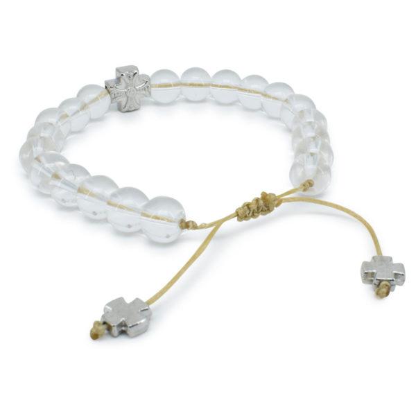 Genuine Crystal Quartz Stone Prayer Bracelet