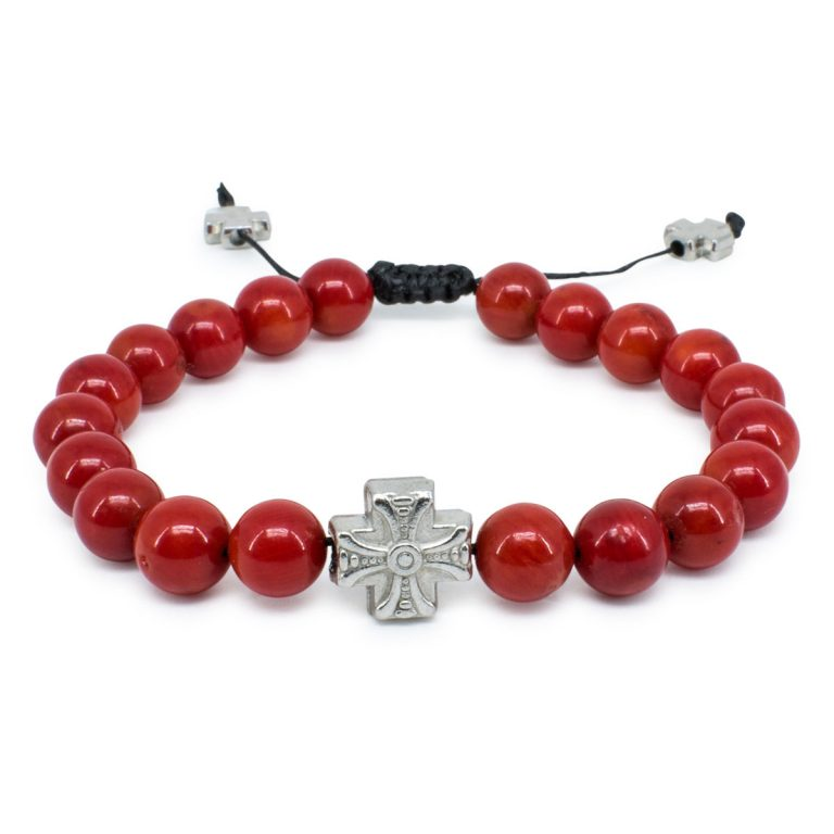 Red Coral Stone Prayer Bracelet
