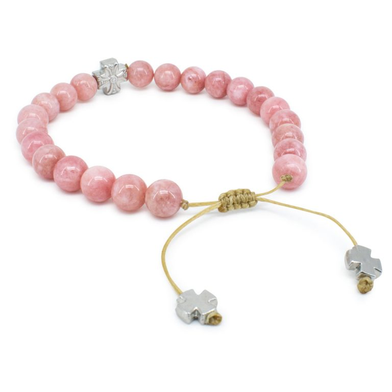 Divine Rose Candy Jade Stone Prayer Bracelet