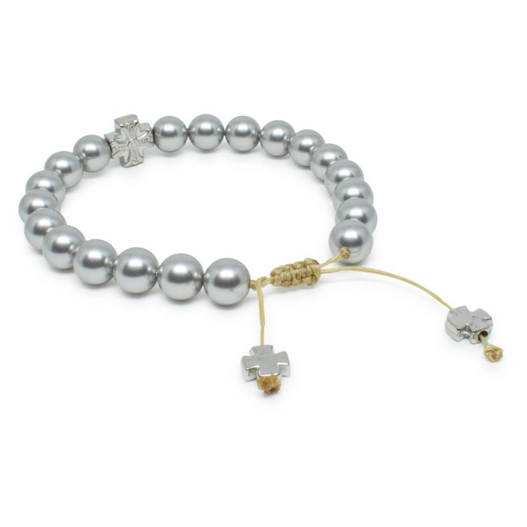 Stunning Silver Swarovski Pearl Prayer Bracelet