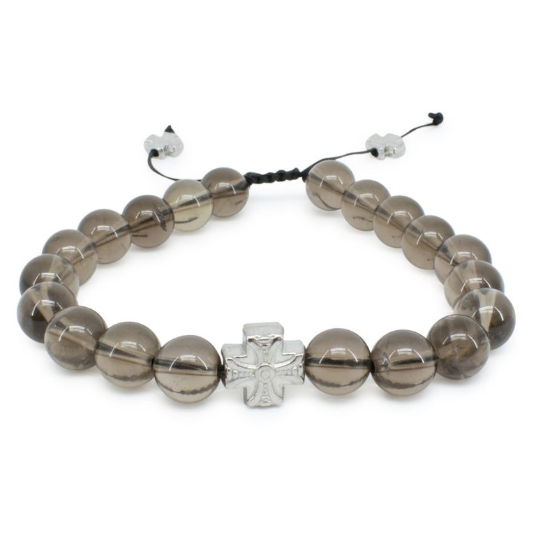 Elegant Smoky Quartz Stone Prayer Bracelet