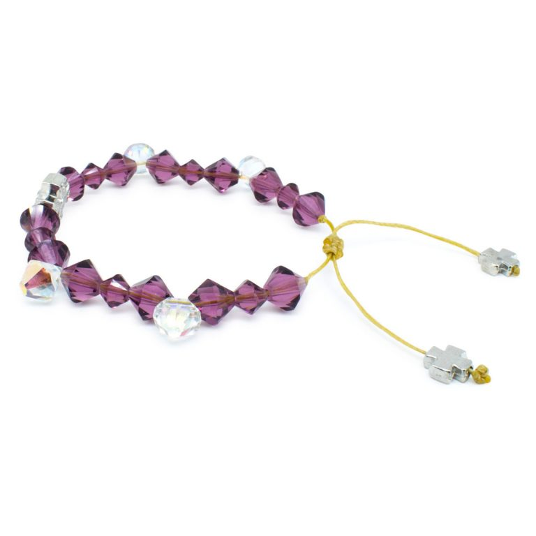 "Swarovski Crystal Prayer Bracelet ""Purple Rain"""
