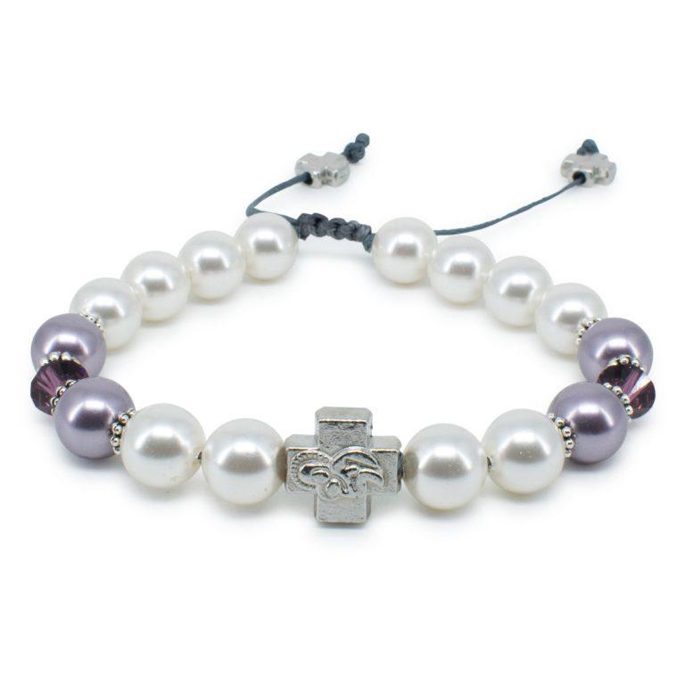 "Swarovski Pearl and Crystal Orthodox Bracelet ""Elena""-0"