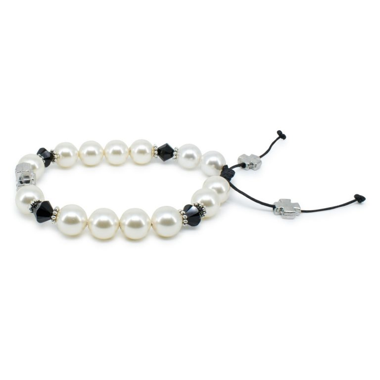 "Delightful Swarovski Pearl and Crystal Prayer Bracelet ""Irini"""