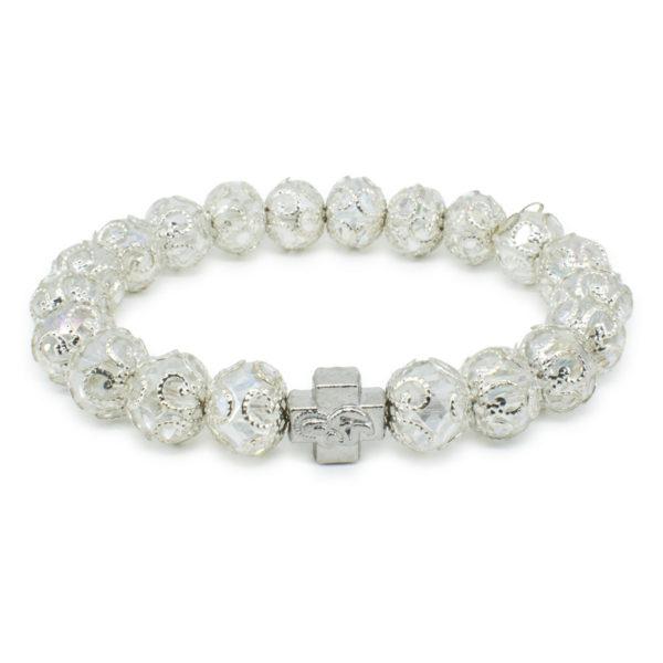 "White Glass Orthodox Bracelet ""Delila""-0"