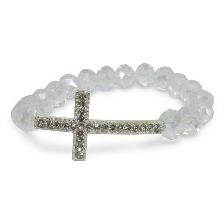 "White Glass Orthodox Cross Bracelet ""Megan""-0"