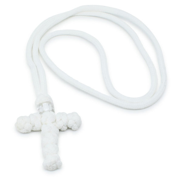 White Woven Cross Necklace-0