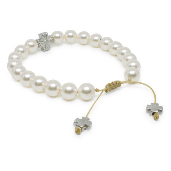 Enchanting White Swarovski Pearl Prayer Bracelet