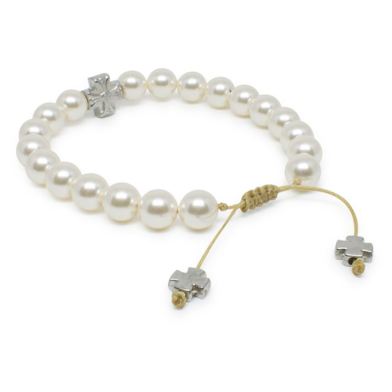 Enchanting White Swarovski Pearl Prayer Bracelet