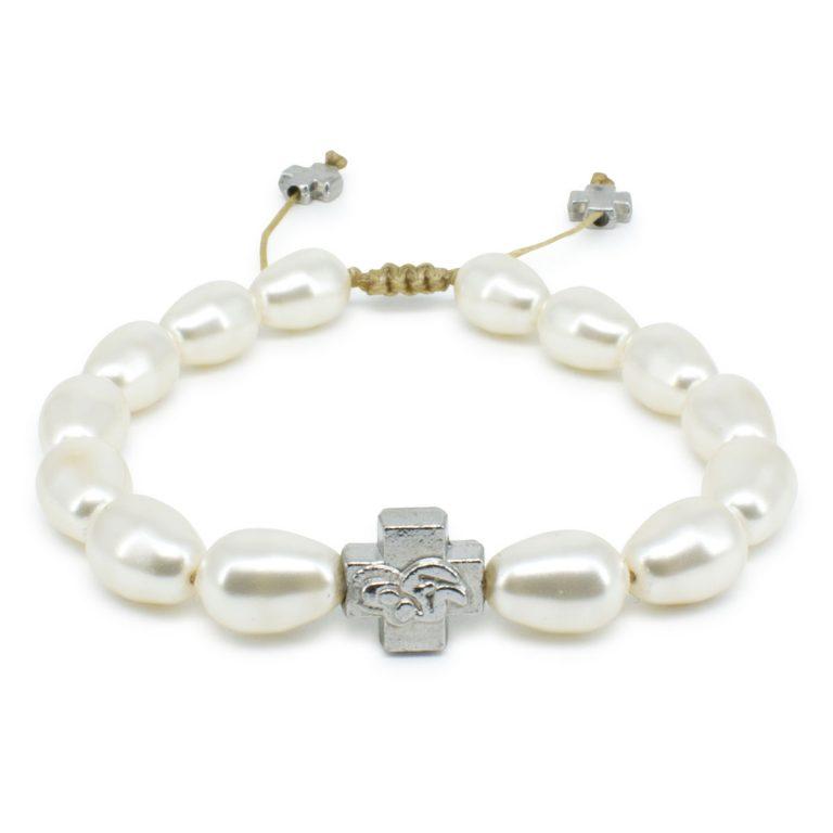 White Swarovski Teardrop Pearl Orthodox Bracelet-0