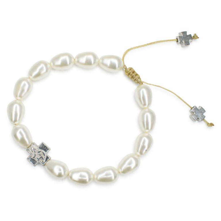 Captivating White Swarovski Teardrop Pearl Prayer Bracelet